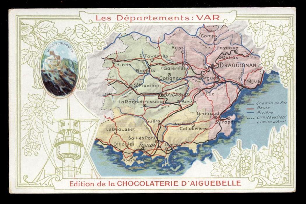 CPA CARTE DU DÉPARTEMENT FINISTÈRE ÉDITION CHOCOLATERIE D AIGUEBELLE